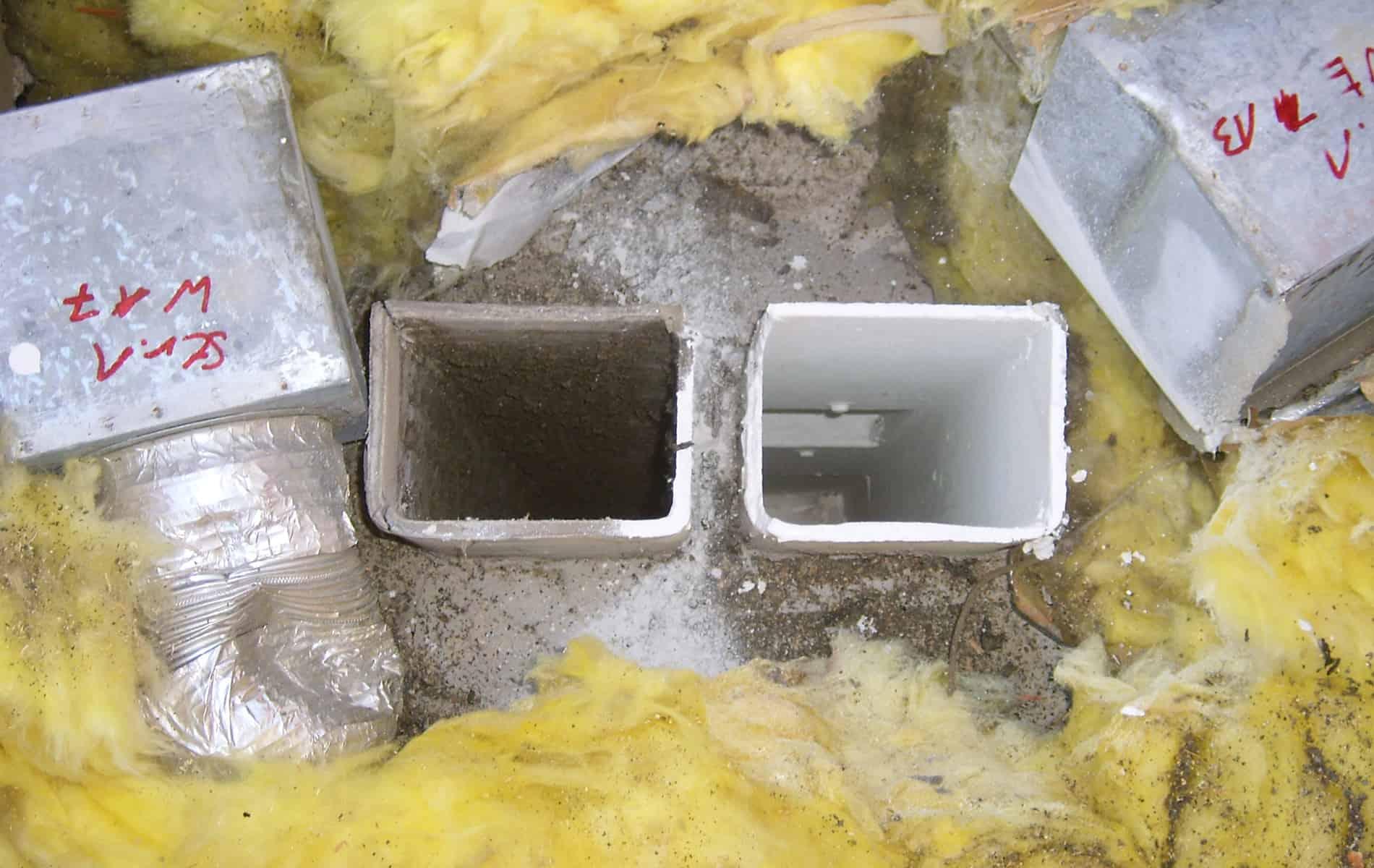 Beschichtung Lüftungskanal Abest vor und nach der Sanierung