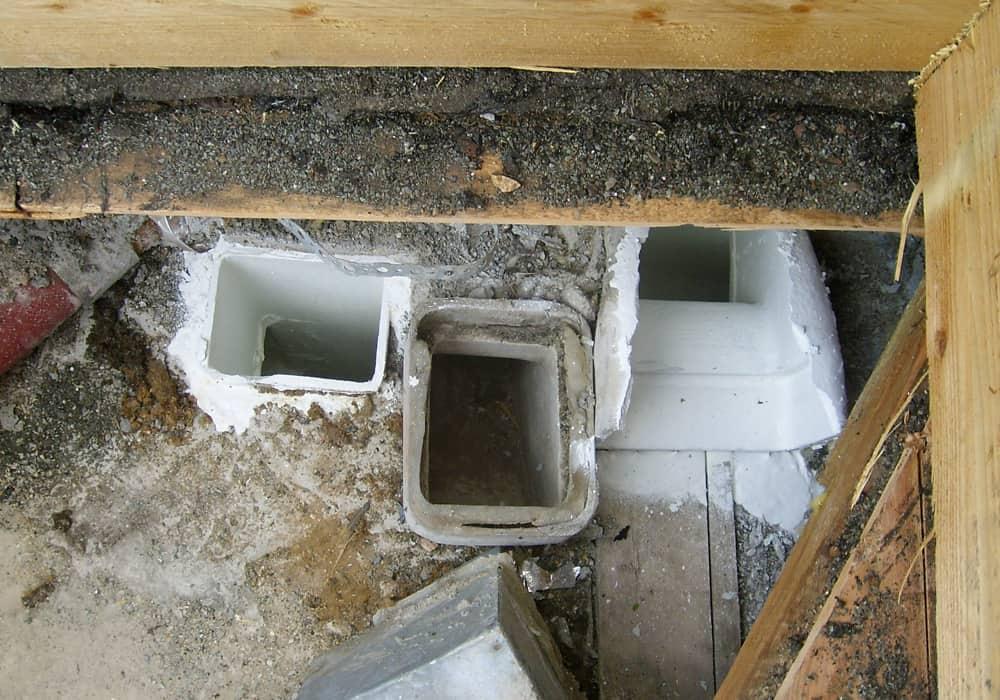 Sanierung Abluftkanäle im Wohnungsbau vor und nach der Sanierung